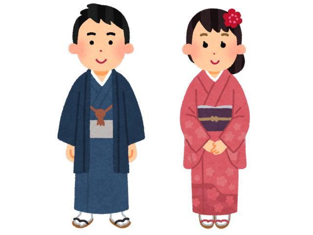 着物を着た13歳の男の子と女の子