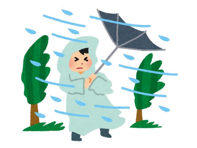 台風の暴風雨