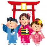七五三、神社の前、3歳女の子、5歳男の子、7歳女の子