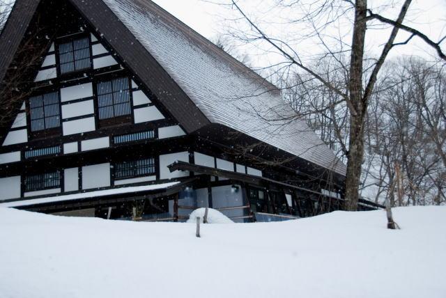 家と道路に雪が積もっている