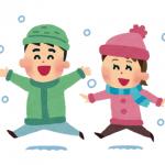 雪が降り喜ぶ子供たち