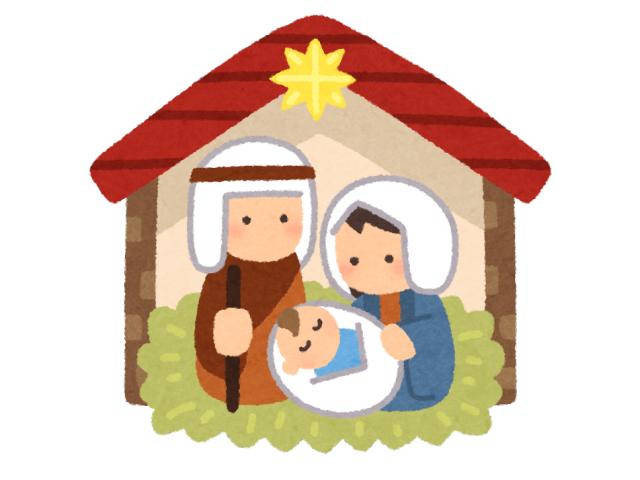 馬小屋でイエスキリストが誕生した様子