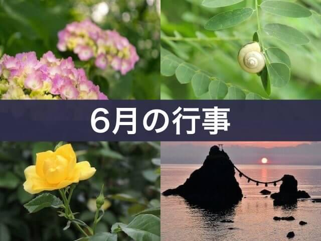 6月の行事(あじさい、カタツムリ、黄色いバラ、夏至祭)